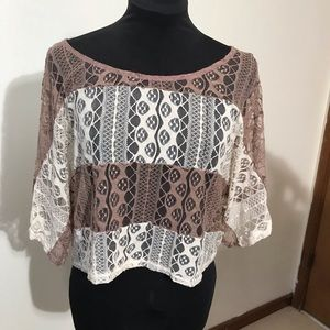 Charlotte ruuse lace overtop taupe cream size S